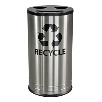 14-Gallon Stainless Steel Recycle Bin with 3 Openings