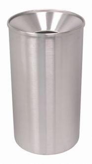 33-Gallon Stainless Steel Waste Receptacle, Funnel Top