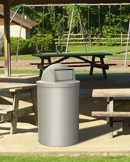 55 Gallon Round Plastic Trash Receptacle with Dome Top with Door & Liner