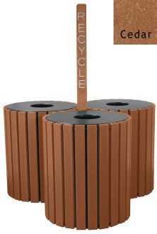 Triple Round Recycled Plastic Trash Receptacle 49 gallon