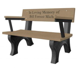 4-Foot Landmark Memorial Park Bench with Arm Rest