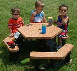 Hexagon Picnic Table with Slide-In Access
