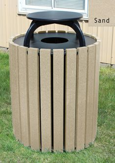 Recycled Plastic Trash Receptacle 49 gallon with rain cap