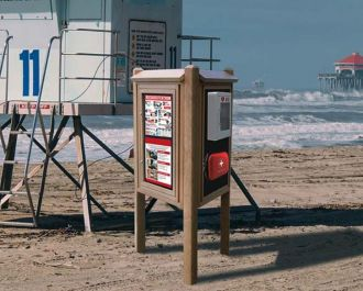 AED & Emergency Kiosk Message Center – 6′ Posts with 2 Open Sides
