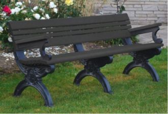 6 Foot Cambridge Park Bench with Arm Rest