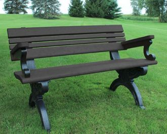 4 Foot Cambridge Park Bench with Arm Rest