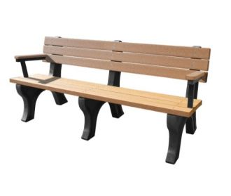 6 Foot Deluxe Park Bench with Arm Rest