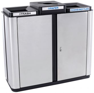 Three Stream Stainless Steel Two Trash and Recycling bins indoor