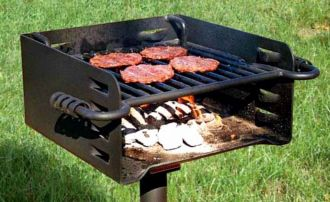 Rotating Flip-Back Grill with Adjustable Grate