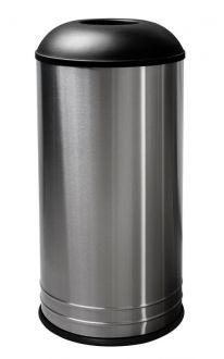 18-Gallon Trash Receptacle with Domed Top, Stainless Steel