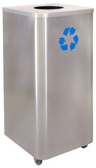 Recycling Receptacle, 24 gal, stainless steel with casters- Liquids Disposal Companion