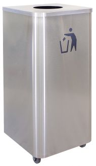 Waste Receptacle, 24 Galion, Stainless Steel with Casters-Liquids Disposal Companion