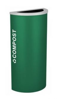 8-Gallon Modular Half Round Recycle Bin, Cans and Bottles