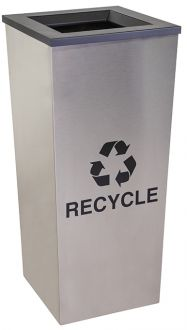 18-Gallon Tapered Single Bin Recycling Receptacle, Stainless Steel