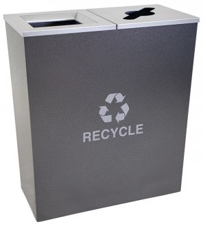 18-Gallon Tapered Dual Recycle Bin, Stainless Steel