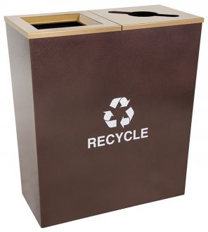 18-Gallon Tapered Dual Recycle Bin, Hammered Copper