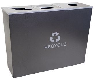 18-Gallon Tapered Triple Bin Recycling Receptacle, Stainless Steel
