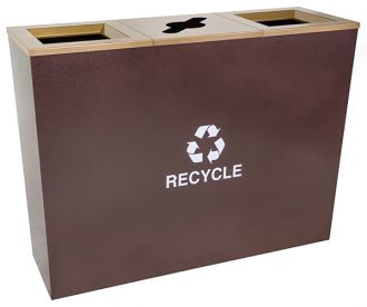 18-Gallon Tapered Triple Bin Recycling Receptacle, Hammered Copper
