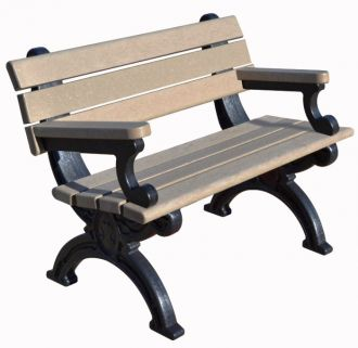 4 Foot Silhouette Park Bench with Arm Rest