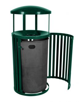Streetscape 45 Gallon Outdoor Trash Receptacle with Door and Canopy