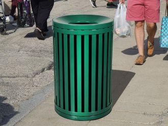Streetscape 45 Gallon Outdoor Trash Receptacle with Funnel Top