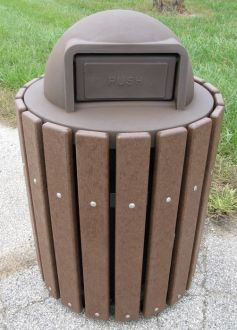 36-Gallon Trash Receptacle with Plastic Dome Top