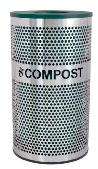 33-Gallon Perforated Stainless Steel Trash Receptacle