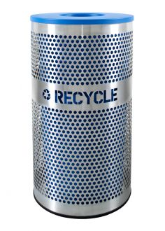 33-Gallon Perforated Stainless Steel Recycle Bin