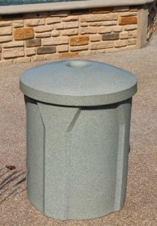 """42 Gallon Round Plastic Recycle Receptacle with Mushroom Top with 5"""" Hole"""