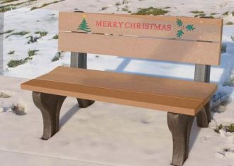 4 Foot Merry Christmas Holiday Bench